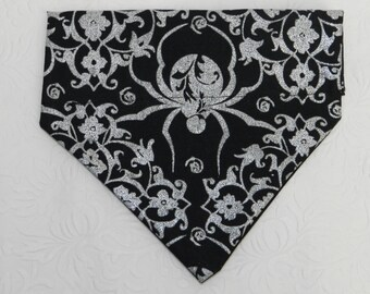 Deadly Wicked! Halloween Textured SPIDER WEB Haunted House Bandana. Great for Dog Cat Ferret-Reversible.  2 in 1 Over the Collar Bandana.