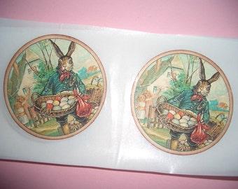 Easter Bunny Sticker Seals - Easter Eggs - Envelope Seals - Set  of Six