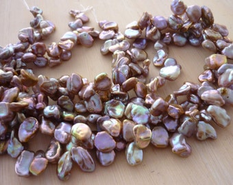 Pretty lilac  petal pearls keshi 6-9mm 1/2 strand