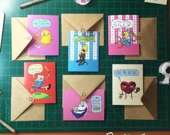 Adventure Time Fanart Love Cards with Envelopes- SET OF 6