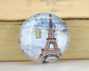 Circle Charm Eiffel Tower Photo Glass Cabochon Round Image Magnets Paperweight crystal Dome  10mm 12mm 14mm 16mm 18mm 20mm 22mm 25mm 30mm