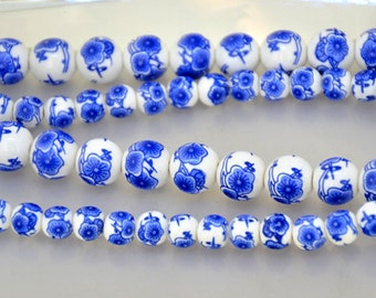 Charm Blue Flower porcelain bead Round 8mm 10mm 12mm Chinese Charm porcelain Beads Full One Strand