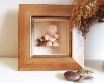 Humorous Baby Gift, Framed & Personalised Polymer Clay Figures - Choice of 5