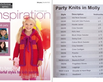 Knitting patterns, knitting book, kids party knits, hand knitting, SMC Inspiration Knitting Book No. 044