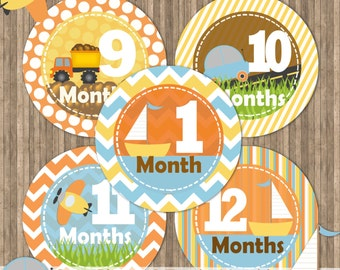 INSTANT DOWNLOAD Planes, Cars, Trucks Baby Stickers, Baby Monthly Printable Stickers,Baby Month Stickers,Baby Milestone Stickers