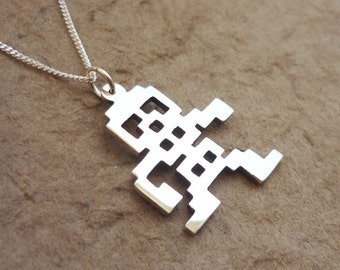 Old school Video Game Skeleton Pendant on chain