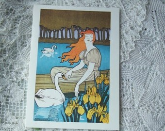 French Lady with Swans. Vintage Blank Notecard. La Femme aux Cygnes. Printed in the USA for Unicef. Art Nouveau by Maurice Verneuil. French.