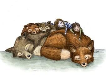 Fox Pile - 8 1/2 x 11 Illustration Print
