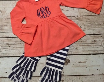 Ruffle Pant Set - Coral and Navy Outfit - Girl Play Set - Monogram Tunic Top - Custom Girl Gift