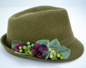 Free shipping, Green Fedora Hat, Accessories for women , Wool Fedora Hat
