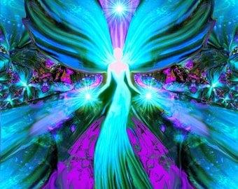 "Blue Angel Art, Stars Light, Reiki Energy Print, Meditation Yoga Studio Decor ""Lightworker"""