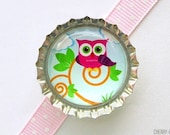 Cute Owl Colorful Bottle Cap Magnet - owl decor, owl party favors, fridge magnets, owl party decorations, owl magnets, owl birthday