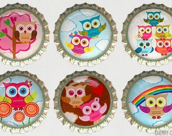Owl Magnet Set, 6 Bottle Cap Magnets, owl baby shower theme, owl decor, owl party favors, owl birthday party theme, girl baby shower favors
