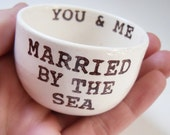 married BY THE SEA ready to ship wedding ring dish ring holder remember beach or destination wedding gift christmas gift for newly married