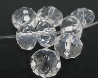 SALE - 70 pcs. Clear Crystal Quartz Faceted Rondelle Beads - 8mm