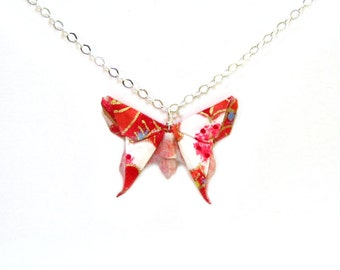 Origami Butterfly Necklace Shades of Pink and White Calico