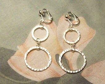 Clip on or Pierced Two Hammered Silver Circles Earrings