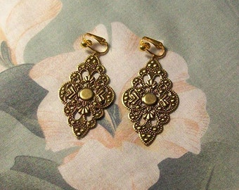 Clip on or Pierced Lightweight Antiqued Gold Filigree Diamond Earrings