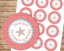 Thank You Party Favor Tags for Birthday Party in Aqua and Coral with Starfish