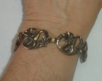 Vintage Sterling Silver Art Deco Nouveau Openwork Floral Link Partial Bracelet 4 Repair or Repurpose