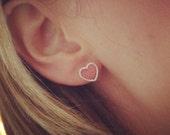 Heart earrings, sterling silver earrings, open heart, love, bridesmaid gift, simple jewellery, stud earrings