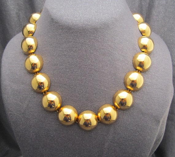 Large Gold Tone Domed Bead Necklace