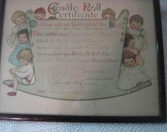 Cradle Roll 1920 Sunday School Certificate 1920