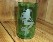 Etched Mermaid on Upcycled Glass made from Pellegrino Sparkling Water Bottle