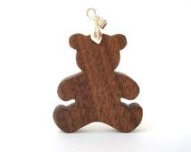 Teddy Bear Pendant Necklace Wood Country Jewelry Hand Cut Scroll Saw Walnut