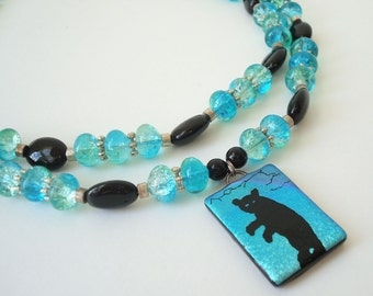 Etched Dichroic Glass Bear Pendant Necklace Beaded Bear Jewelry Double Strand Blue Green Teal Aqua Onyx