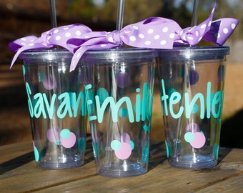 Personalized Tumbler with Straw - Double Wall 16 oz. - CLEAR - Monogrammed cup with straw - Bridesmaid Gift