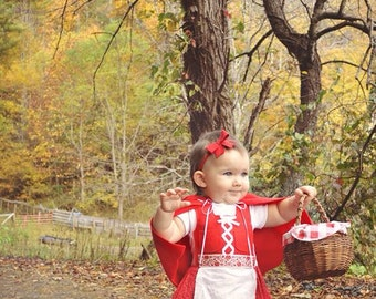Dirndl  Dress in Red (Red Riding Hood, Oktoberfest, baby Christmas dress)
