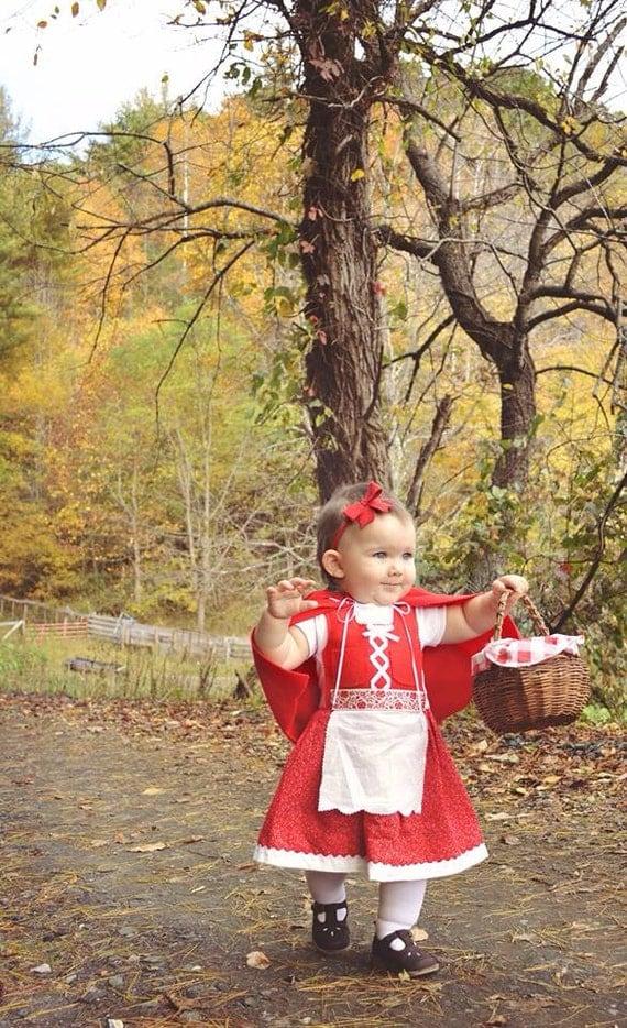Dirndl  Dress in Red (Red Riding Hood, Oktoberfest, baby Christmas dress)