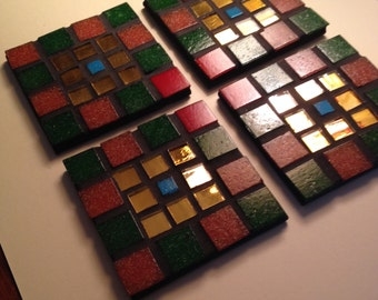 Set of 4 Mosaic Coasters green and gold