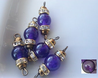6 X  Vintage Amethyst Stone Bead Connectors with Brass loops, Amethyst Connectors, Loose Amethyst .Rhinestone Connectors, Jewelry Making
