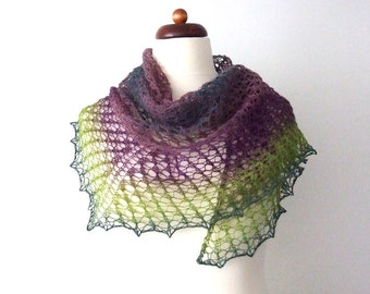handknit lace shawl, ON SALE 30% OFF, wool triangle scarf, purple green teal