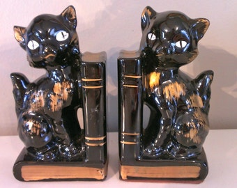 Sale Vintage Black Cat Bookends Japan