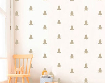 Silver Pine Tree Nursery Wall Decal, Pine Tree Pattern Kids Wall Stickers, Vinyl Kids Wall Decor