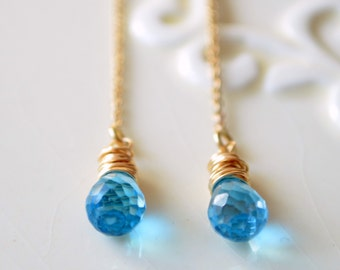 Swiss Blue Topaz Earrings, Gold Filled Threaders, Bright Genuine Gemstones, December Birthstone Jewelry, Wire Wrapped, Free Shipping