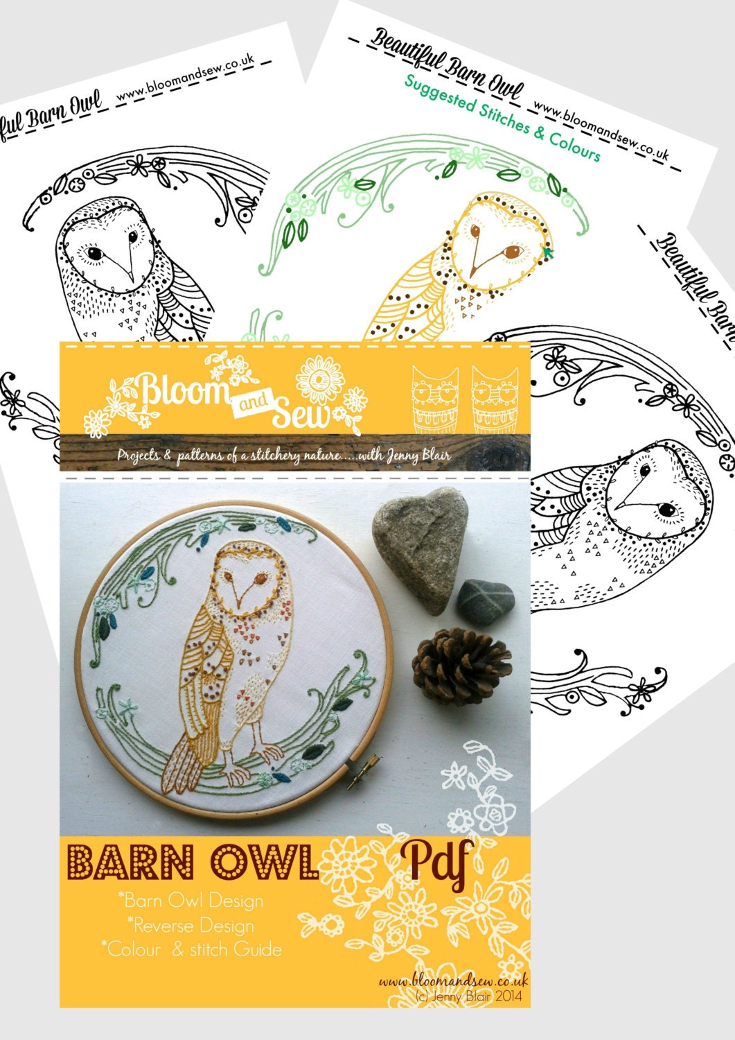 Barn owl embroidery pattern pdf diy wall art needle work owl this is a digital file bankloansurffo Image collections