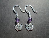 Sterling silver butterflies, amethyst earrings- Lupus Awareness- February birthstone