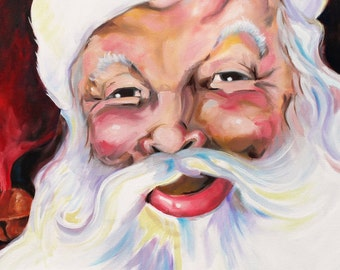Santa Clause Artwork Original Painting PRINT 11x14 Reproduction Christmas wall decor