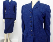 Vintage 1940s suit blue wool Buttons Chester's Tailorbrooke Bust 40 Large war era WAC WAVE fitted waist