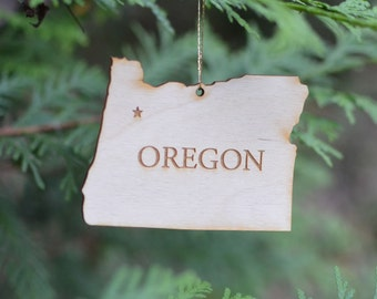 Natural Wood Oregon State Ornament