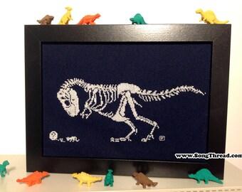 KIT CROSS STITCH T-rex Dinosaur Dino Skeleton Fossil Cat Cute Counted Cross Stitch