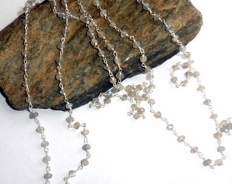Labradorite Rosary Three Way Necklace Wire Wrapped earthegy