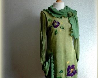 Green Spring Asymmetrical Linen Knitted Hand -Dyed Handmade Sweater Tunic With Felted Appliques Boho Fiber Art Eco Friendly Clothing