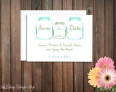 Save the Date Card - Mason Jars Painted - Customizable Colors