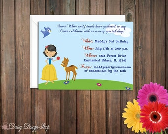 Birthday Party Invitations - Princess Snow White and Friends - Set of 20 with Envelopes