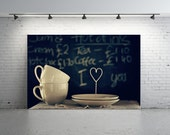 Chalk Board Photo, Blackboard Photo, Cups and Saucer Photo, Cafe Photo, Heart Photo, Love Photo, White Cups Photo, Valentine Gift